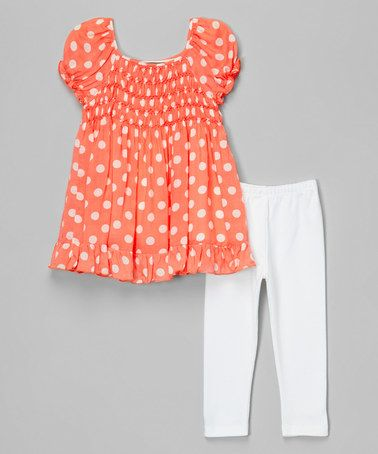 Look at this #zulilyfind! Orange Polka Dot Smocked Top & White Leggings - Infant & Toddler #zulilyfinds