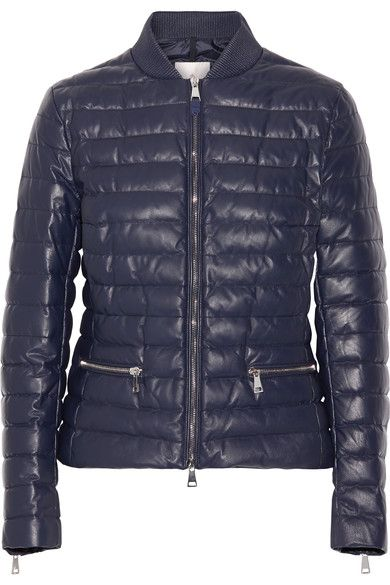 Moncler - Buglose Quilted Leather Down Jacket - Midnight blue - 5