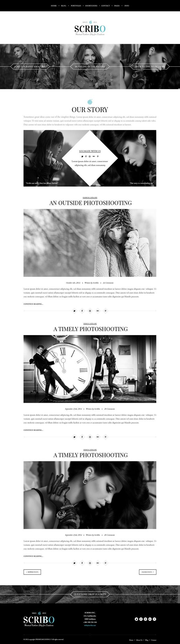 Scribo - Fashion Blog Template on @creativemarket   Designed for blog's, #fashion sites and minimal personal websites, Scribo is the perfect fashion blog #template for your or your client's small business or your personal blog.