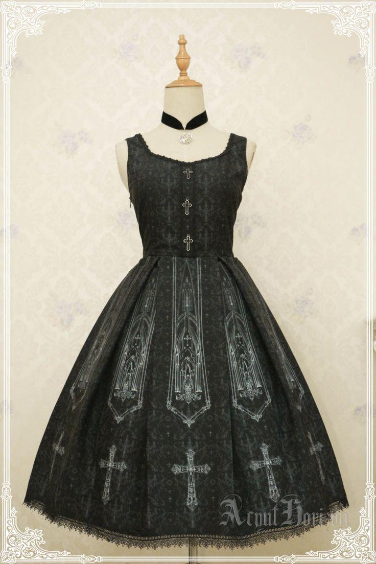 AcYut Horizon -The Slient Church- Gothic Lolita Normal Waist Jumper Dress