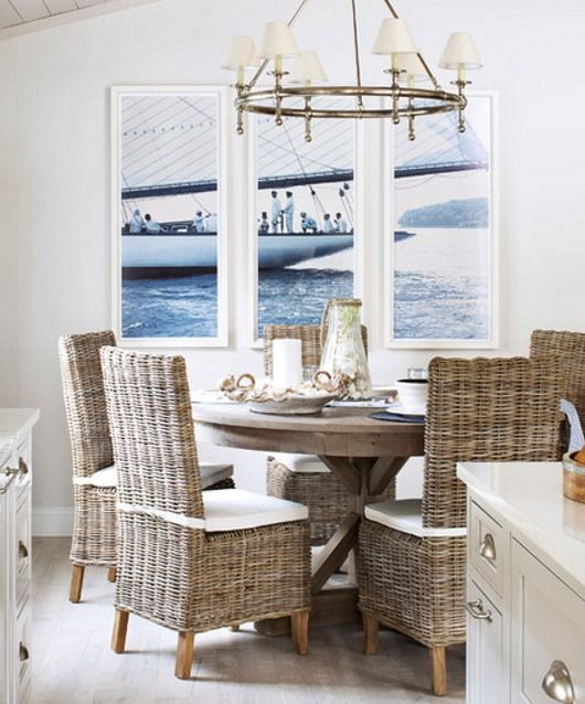 Rattan dining room chairs for coastal and nautical decorating... http://www.completely-coastal.com/2017/04/indoor-rattan-chairs-for-coastal-beach-decor.html