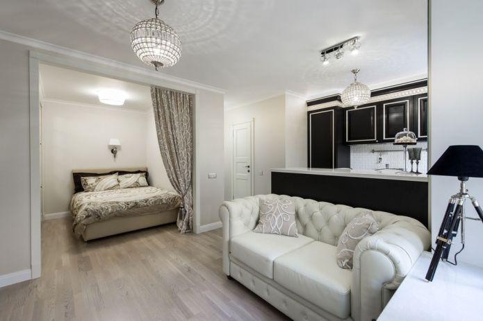 дизайн однокомнатной квартиры с кроватью в нише