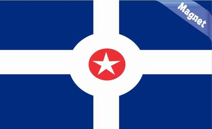 5in x 3in Indianapolis Indiana Flag Magnet Vinyl Magnetic Decal Magnets