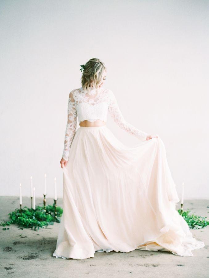 Two piece wedding dress: Photography: Mallory Dawn - http://mallorydawn.com/