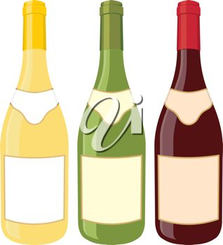 Royalty Free Clipart Image of Wine Bottles