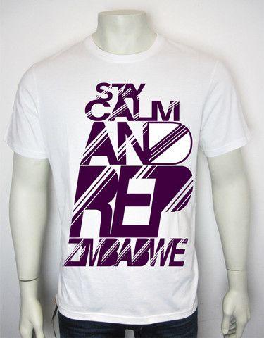 RIBBON-D STAY CALM AND REP ZIMBABWE (SCARZ) T-Shirt White/Purple (Stripped)