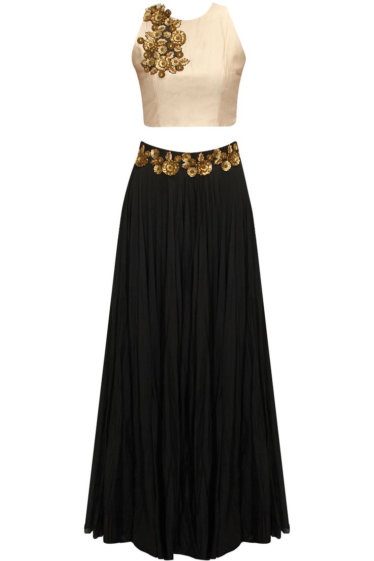 Cream and balck floral sequins embroidered lehenga set available only at Pernia's Pop-Up Shop.