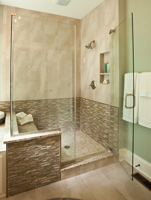 Modern walk in shower inside the new custom model home by for New model bathroom design