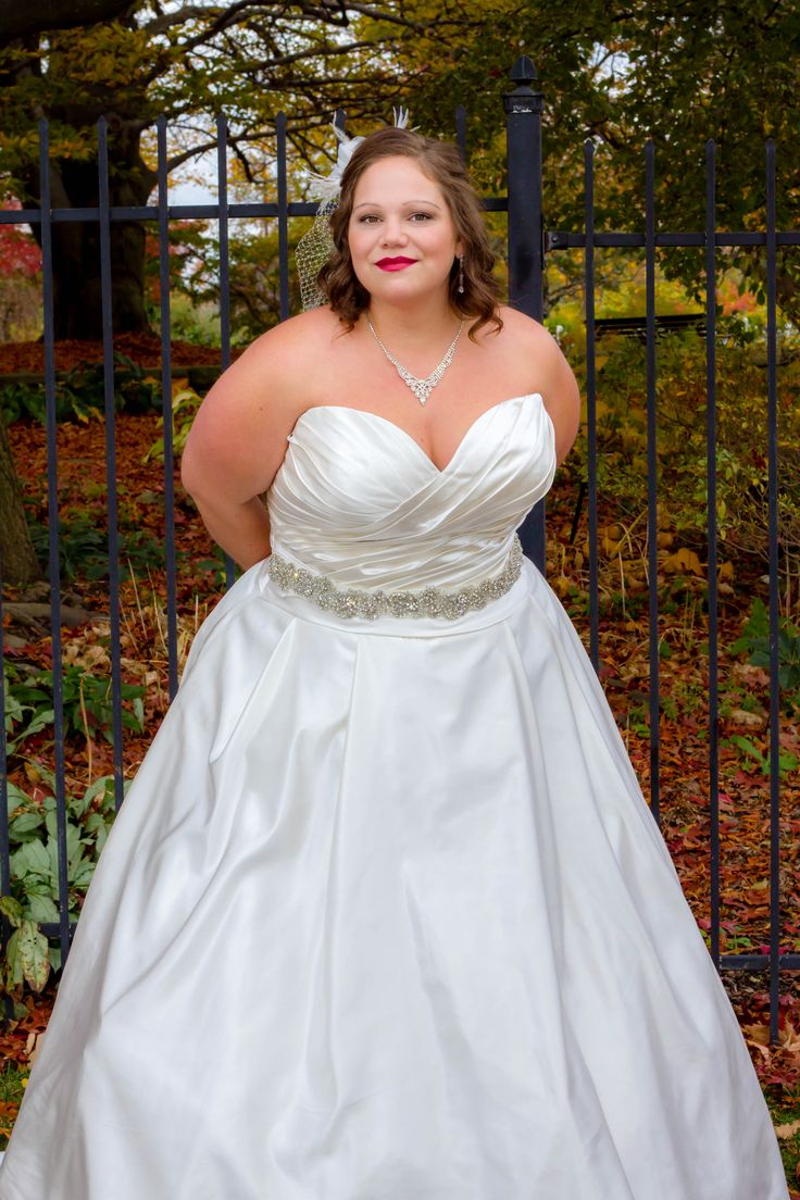 Satin Ball Gown With Added Sash Available At Kodabridal In Pittsburgh Pa Plus Size Weddingsashpittsburgh