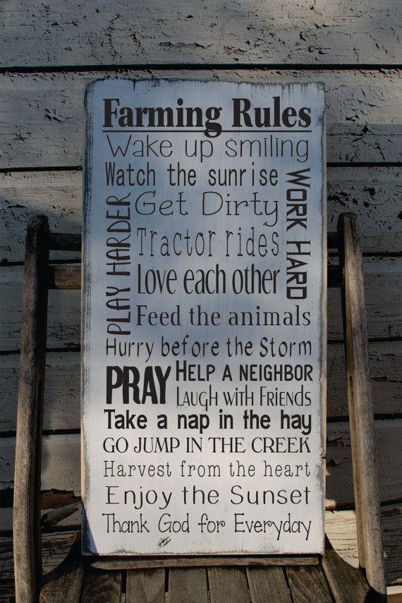 Custom Farmer sign Extra Large Rustic Ranch Rules Farm by Wildoaks