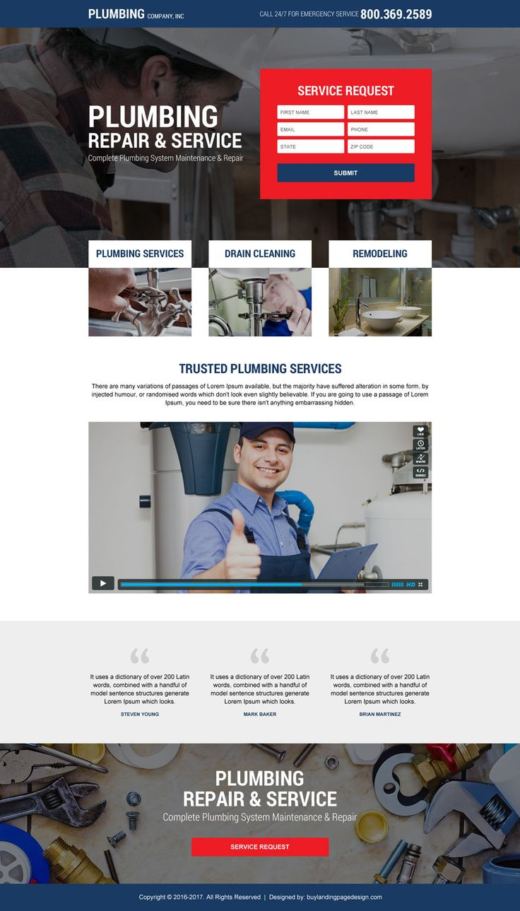plumbing service video lead generating landing page design