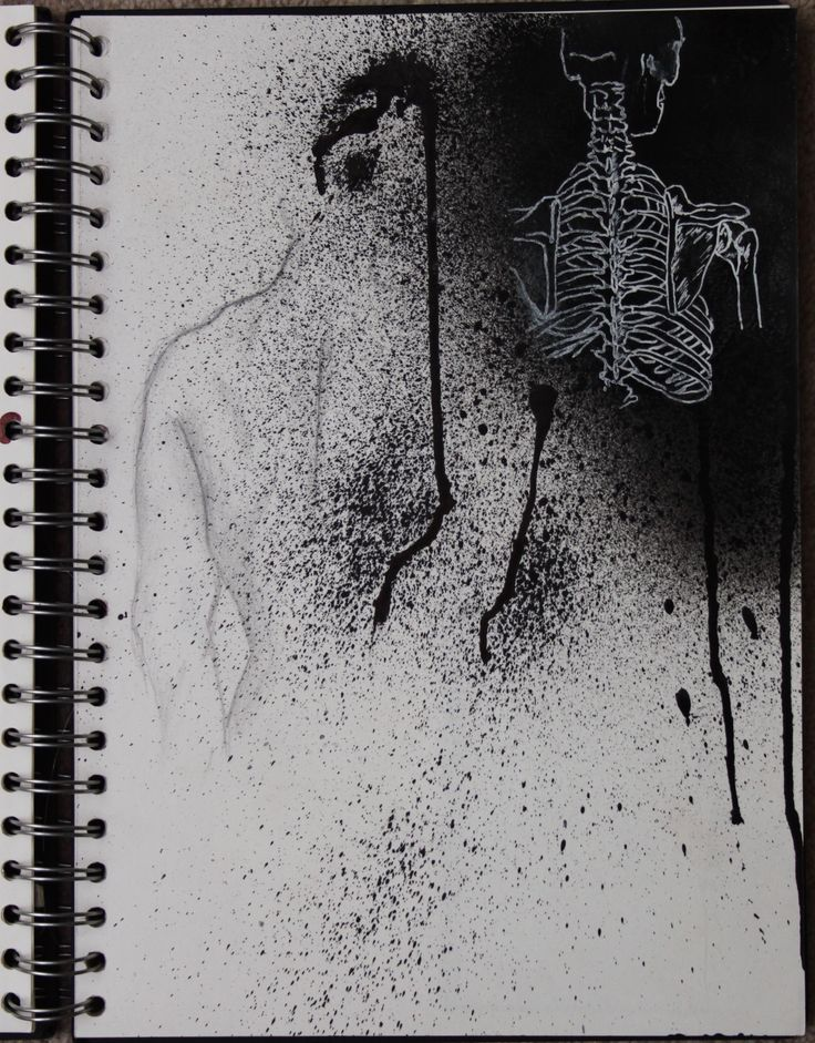 Sketchbook work, contrast between Living and Death.