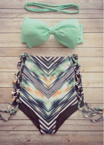 Mint Green Bra and Printed Panty on sale only US$20.23 now, buy cheap Mint Green Bra and Printed Panty at modlily.com