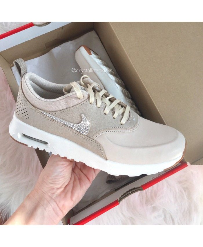 Nike Air Max Thea Beige Trainers With Swarovski Crystals