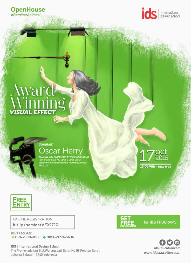 #SeminarAnimasi AWARD WINNING VISUAL EFFECT bersama Oscar Herry (17 Okt 2015). Regist: http://bit.ly/seminaranimasiIDS1710