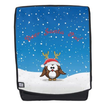 Deer Santa Owl backpack - accessories accessory gift idea stylish unique custom