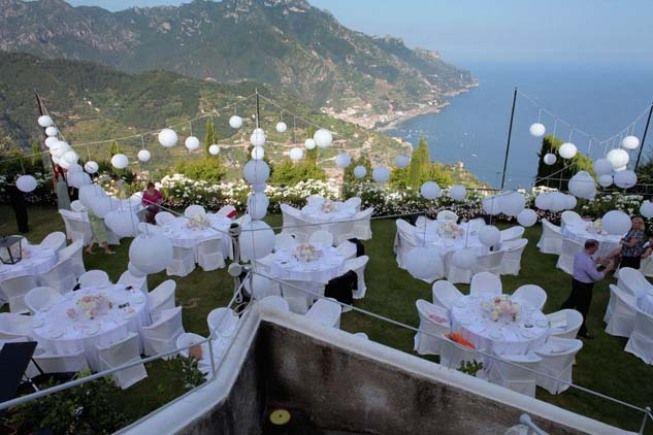 Outdoor wedding reception in the garden of Hotel Caruso http://www.weddingsontheamalficoast.com/ravello-wedding-jackie-constantin-sinagra.html