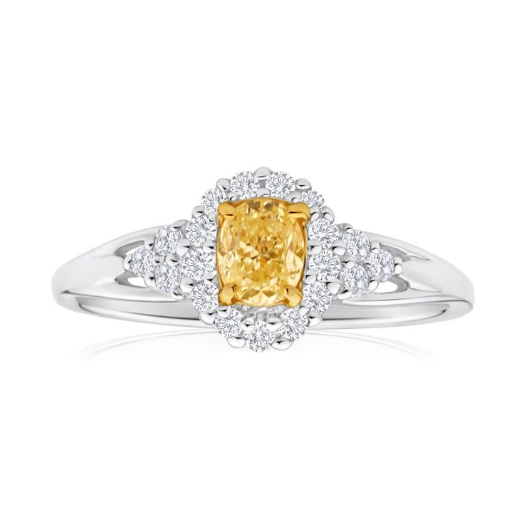 Yellow Diamond Solitaire Ring in 18ct Gold (TW=60pt)