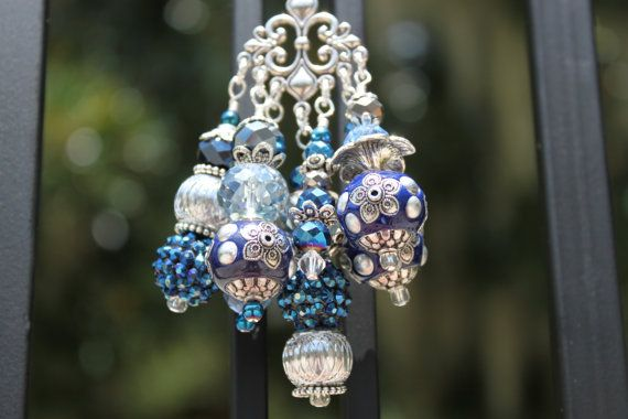 MIDNIGHT BLUE & SILVER Car Charm/Rearview by BaublesandByGones, $18.00