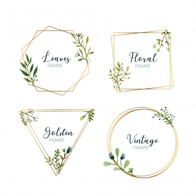 651a89840d7 FREE DOWNLOAD - Watercolor leaves in gold frames Free Vector ...