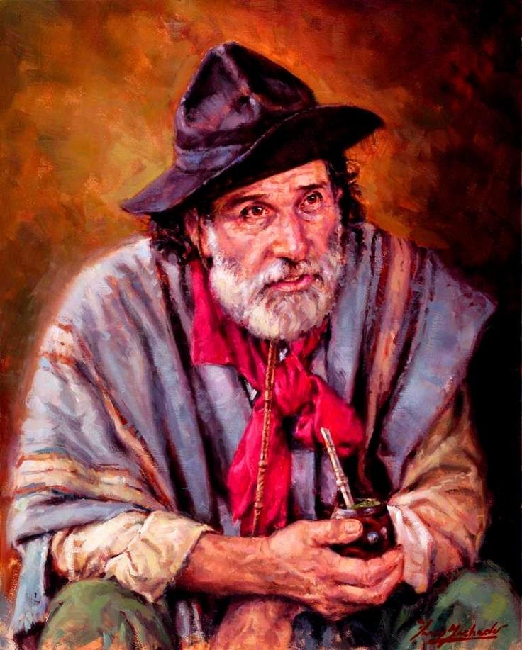 Vasco Machado. Oil on canvas. Gaúcho mateando