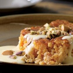Apricot-Bulgur Pudding Cake with Custard Sauce - EatingWell.com