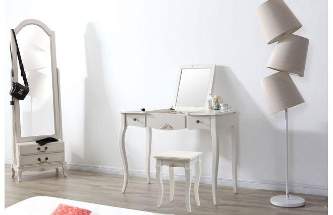 Coiffeuse baroque bois blanche BIANCA - Face