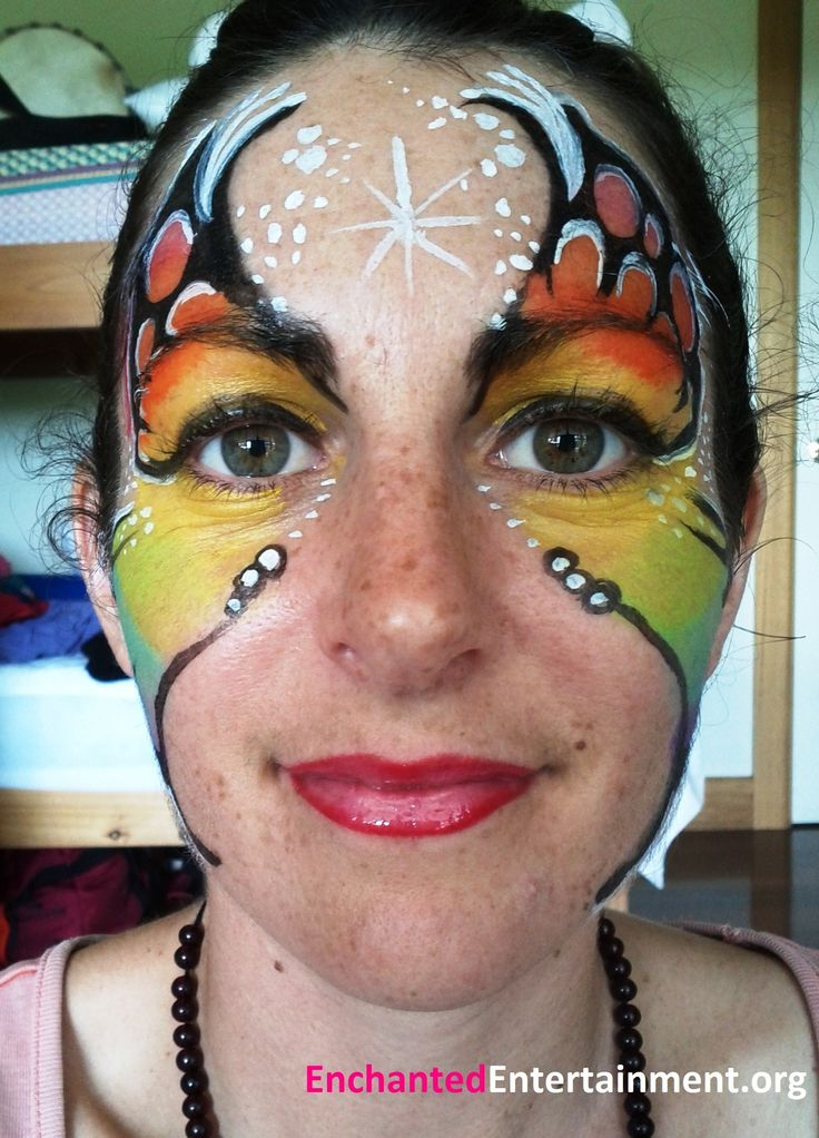 Butterfly rainbow girl face painting by EnchantedEntertainment.org  Character Parties, Face Painting & Entertainment for Children  Northern NSW & Gold Coast, Australia