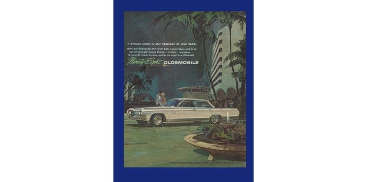 OLDSMOBILE NINETY-EIGHT Automobile Original 1963 Vintage Color Print Ad - White Car in Evening Event Theme w/ Modern Buildings & Palm Trees by VintageAdOrama on Etsy