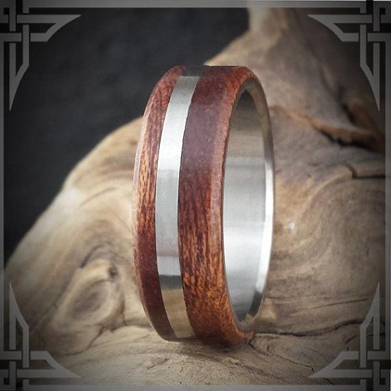Titanium Ring with Sapele Wood and Titanium accent. Wedding handmade by AncientWorks1 on etsy.com