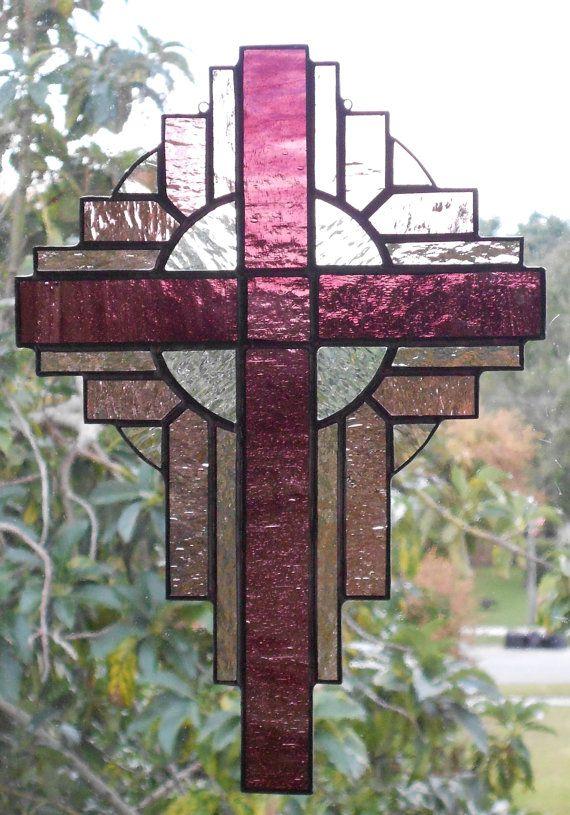 Stained Glass Cross,Stained Glass Art,Stained Glass,Stained Glass Suncatcher, Stained Glass Orchid  Purple Cross, Religious Art, 113