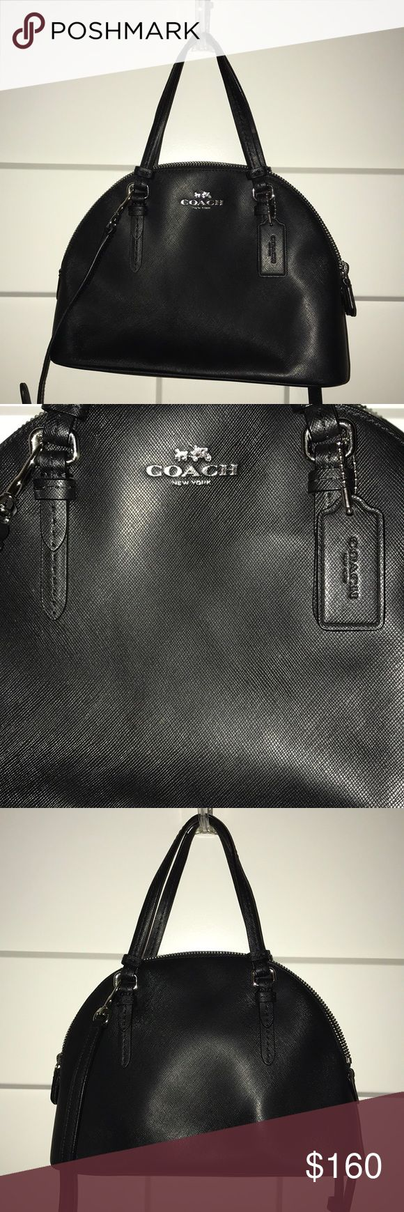 Coach Cross-Body Satchel 100% Authentic ! Black coach purse in great condition! Easy to clean! Can be used as a cross-body or carried by the top handles. Used a handful of times. Dimensions are in the pictures! Coach Bags Crossbody Bags