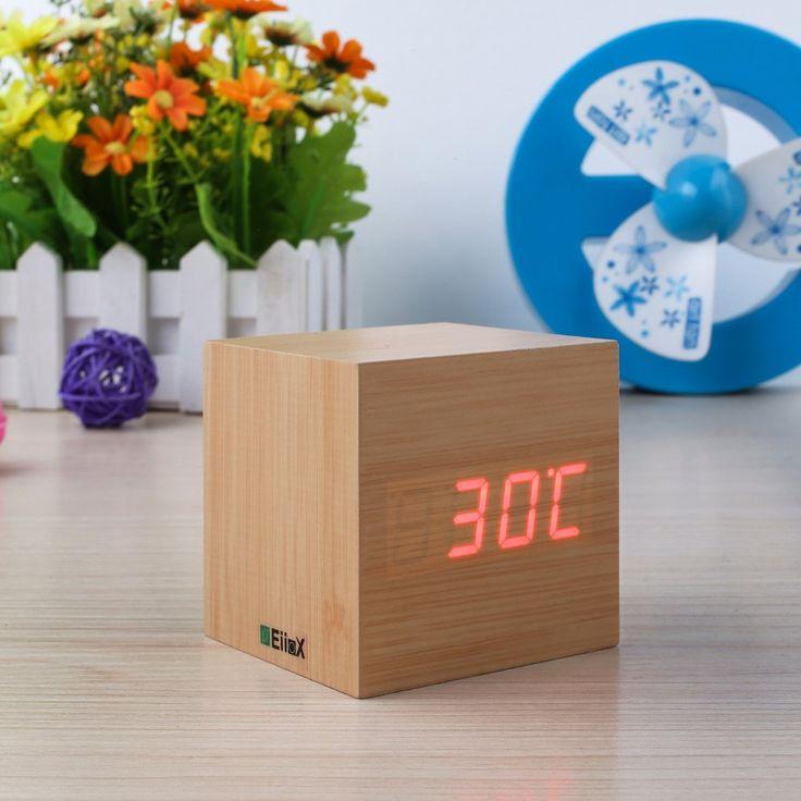 EiioX Fashion Mini radio-réveil en bois Fonction thermomètre/calendrier/contrôle vocal et tactile: Amazon.fr/Hi-Tech(9fois9cm)