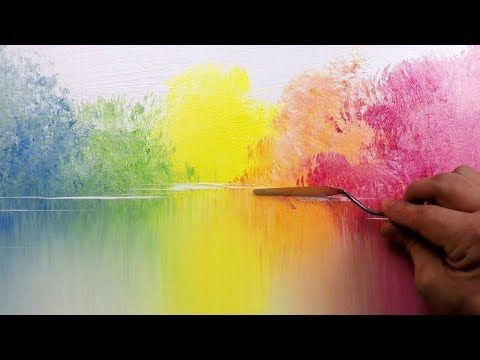 Colorful Landscape / 137 / Relaxing / Brush, Palette Knife / Abstract Painting / Demonstration – YouTube