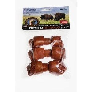 All-Natural Buffalo Rawhide Bones - 3 Chicken Flavored Small Bones (Misc.)