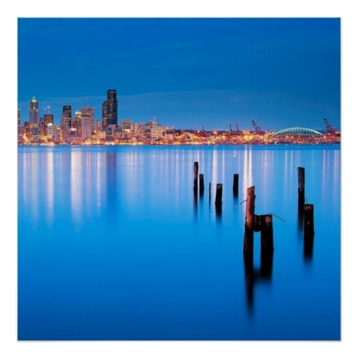 Customizable #Architecture #Building#Exterior #City #City#Life #Cityscape #Clear#Sky #Color#Image #Consumerproduct #Dusk #Elliott#Bay #Horizontal #Illuminated #No#People #Outdoors #Photography #Reflection #Sea #Seattle #Sky #Tranquil#Scene #Travel #Travel#Destinations #Usa #Washington#State Blue hour view of downtown Seattle Poster available WorldWide on http://bit.ly/2hXt0Hn