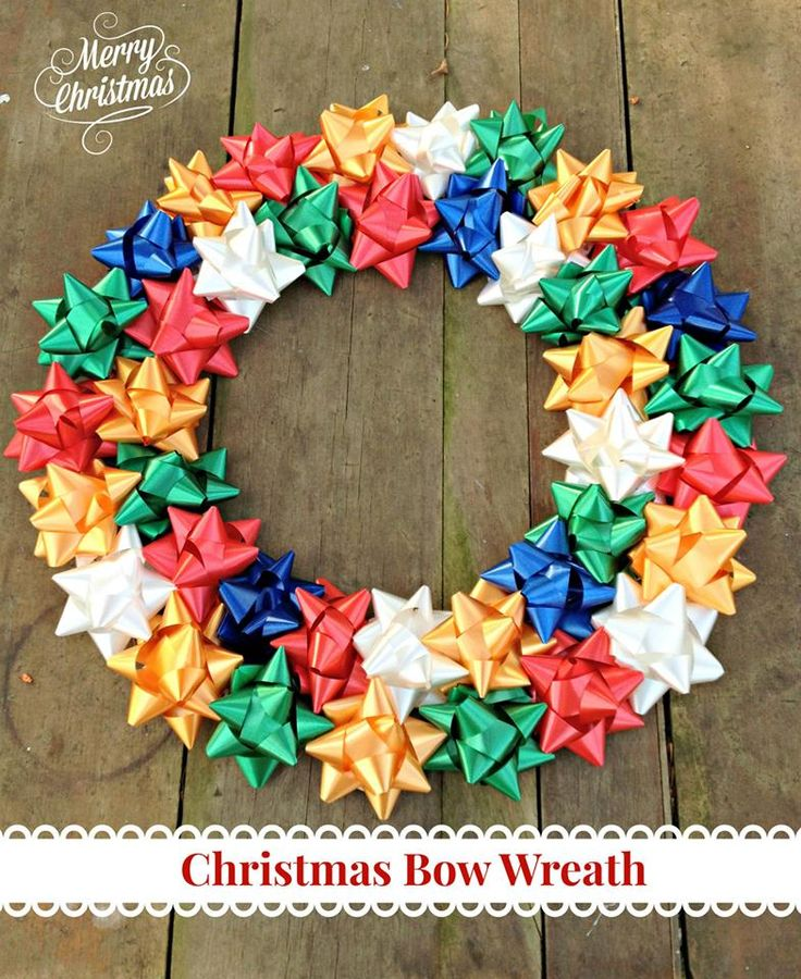 Christmas Bow wreath.. I'd change out those yellow/gold ones for prettier colors, but cool!