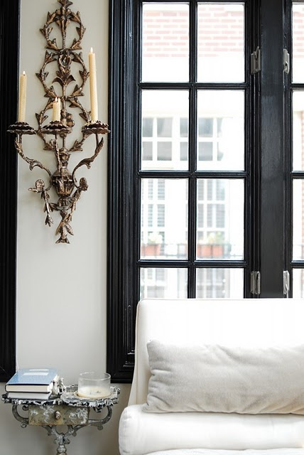 love black trim in white rooms.: Colors Combos, Black Window, Black Doors, Interiors Design, Wall Sconces, Window Trim, Black Trim, White Wall, Window Frames
