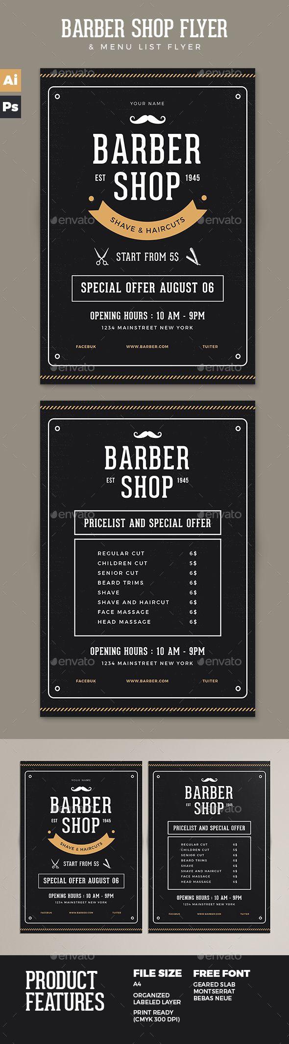 Barber Shop Flyer Template PSD, AI Illustrator. Download here: https://graphicriver.net/item/barber-shop-flyer/17258298?ref=ksioks