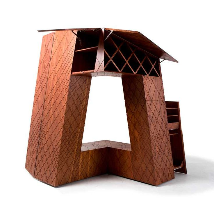 naihan li renders OMA's CCTV headquarters as a wooden storage cabinet