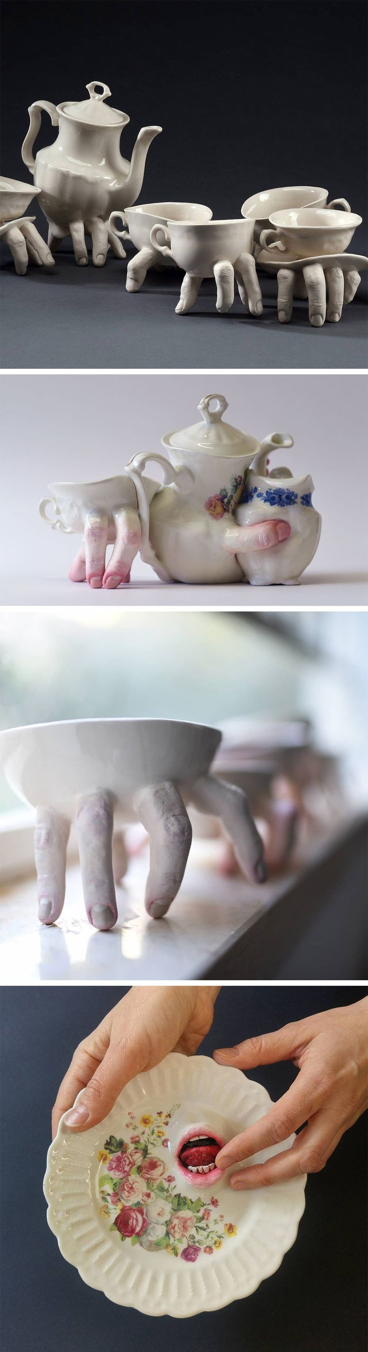 Artist Ronit Baranga's Disturbing Anatomical Dishware Creeps Across Tabletops