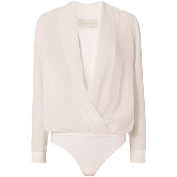 Michelle Mason Women's Cross Front Bodysuit Blouse found on Polyvore featuring tops, blouses, bodysuit, shirts, body, white, white shirt, white long sleeve bodysuit, silk shirt and white long sleeve blouse