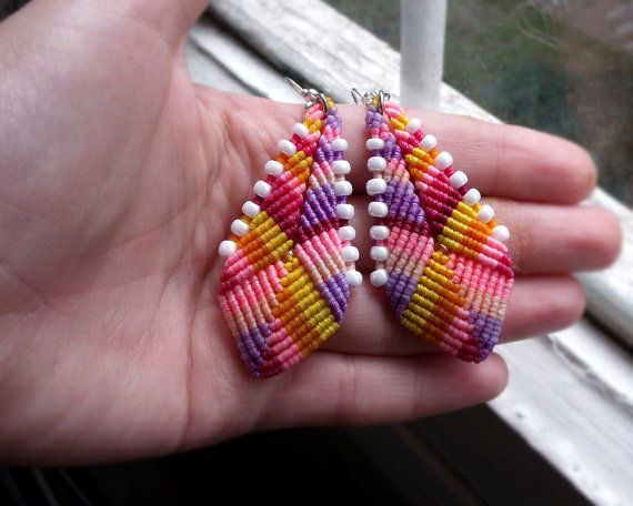 Ethnic boho micro macrame earrings Summer colors by MartaMacrame