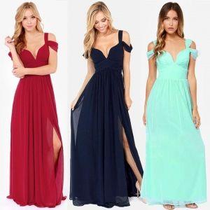 Women's Ladies Greek Style Long Chiffon Pleated Dress Deep V-neck Sexy Evening Cocktail Maxi Dresses