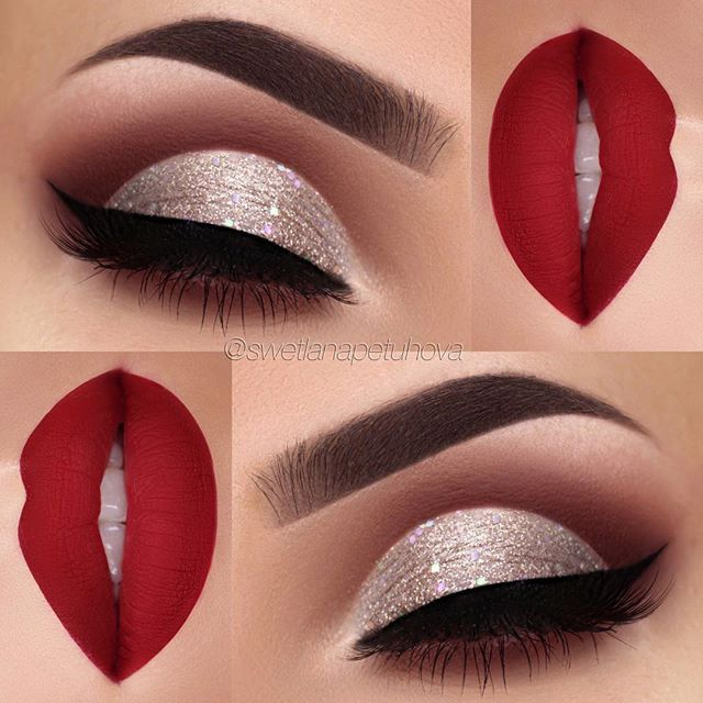 "I think this eye and lip combo would be so perfect for Christmas ❤️ Oh and I can't believe I've reached 90k today! Thank you so much Brows: @anastasiabeverlyhills waterproof creme color in ""Sable"" Eyeshadow: @makeupaddictioncosmetics flamingo love palette Glitter: chunky glitter ""jingle bells"" by @_glittereyes_ Liner: @tartecosmetics tarteist clay paint liner Lips: @toofaced Lady Balls liquid lipstick"