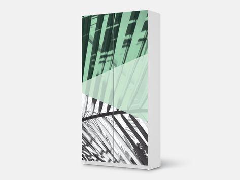 Designfolie Palmen mint für dein Pax Schrank 201 cm Höhe - 2 Türen