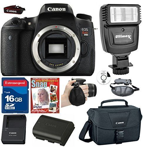 Canon EOS Rebel T6s DSLR +(No Lens) +Canon LP E17 Battery +16GB Commander High Speed Memory Card +Canon Professional Camera Bag +Deluxe Wrist Grip +Top Value Bundle - International Version. This Kit Includes Canon EOS Rebel T6s Digital SLR Camera 24.2 MEGA PIXELS , Digic 6 ,FULL 1080 HD , ISO 12800 Photo , 6400 Video , 5.0 Frames Per Sec. Commander Pro Speed 16GB Professional Series SDHC Memory Card - Class 10 is 100% full capacity. Great for full HD recording. Photo wrist grip strap…