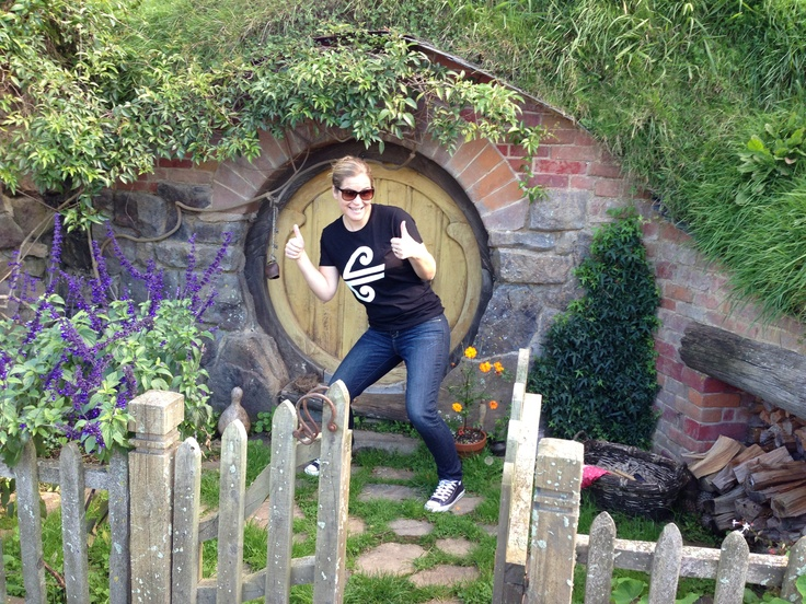 Amelia from our Air New Zealand Social Media Team gives #Hobbiton the thumbs up!