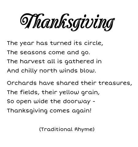 Thanksgiving poem printable for kids