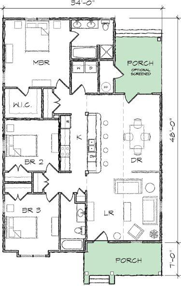 Narrow lot bungalow house plan 10035tt 1st floor for Narrow bungalow house plans